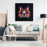 Neon Abstract Collie Canvas Wall Art