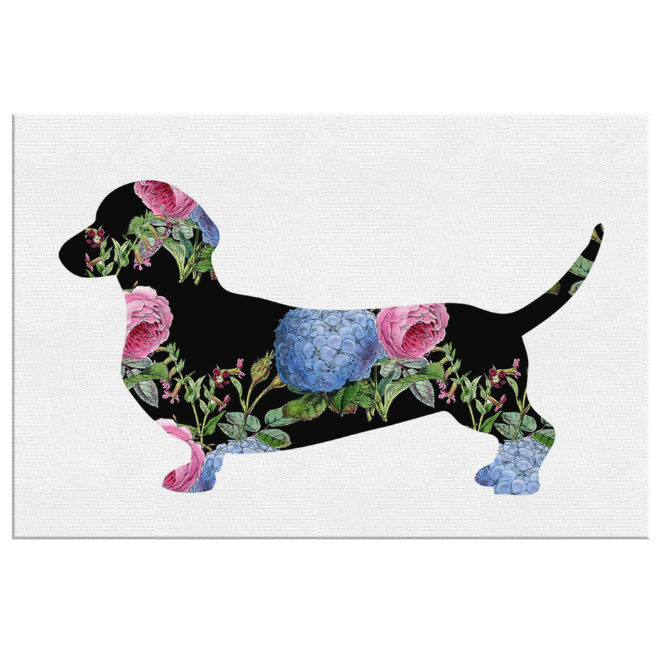 Floral Dachshund Canvas Wall Art
