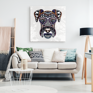 Abstract Patterned Schnauzer Canvas Wall Art
