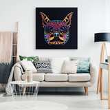 Abstract Neon Boston Terrier Canvas Wall Art