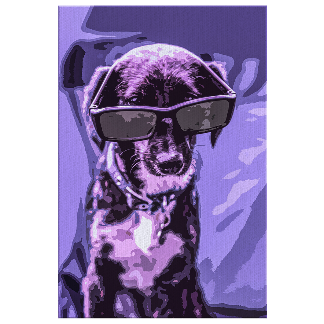 Purple Dog With Glasses