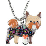 Enamel Yorkshire Terrier Pendant Necklace