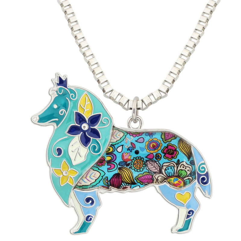 Enamel Border Collie Pendant Necklace
