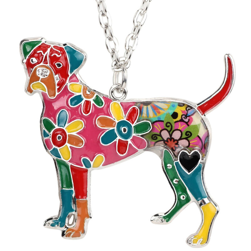 Enamel Boxer Pendant Necklace