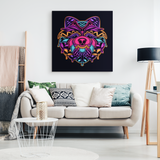 Neon Abstract Pomeranian Canvas Wall Art