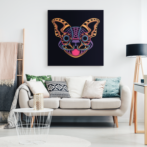 Abstract Neon Chihuahua Canvas Wall Art