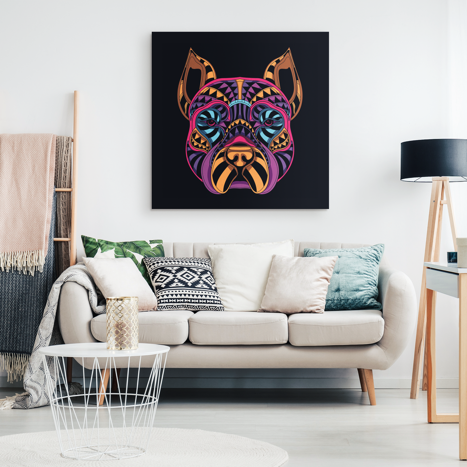 Abstract Neon Boxer Canvas Wall Art