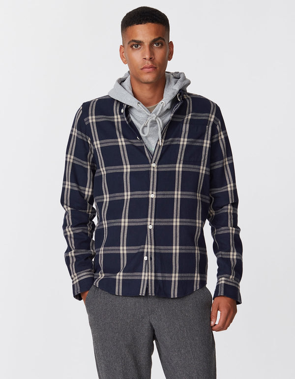 JASPER CHECK FLANNEL SHIRT  Dark Navy/Sand