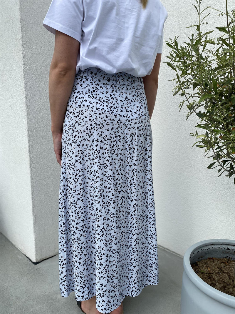 PRINTED CREPE SKIRT  Heather