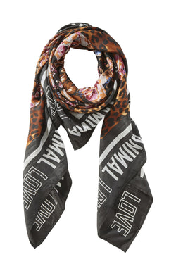 SCARF WITH FLOWER AND LEO PRINT  Sort