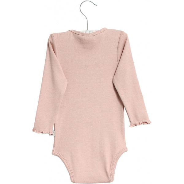 BODY RIB RUFFLE LS  Rose Powder