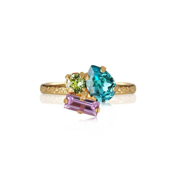 ISA RING GOLD  Light Turquoise + Chrysolite + Violet