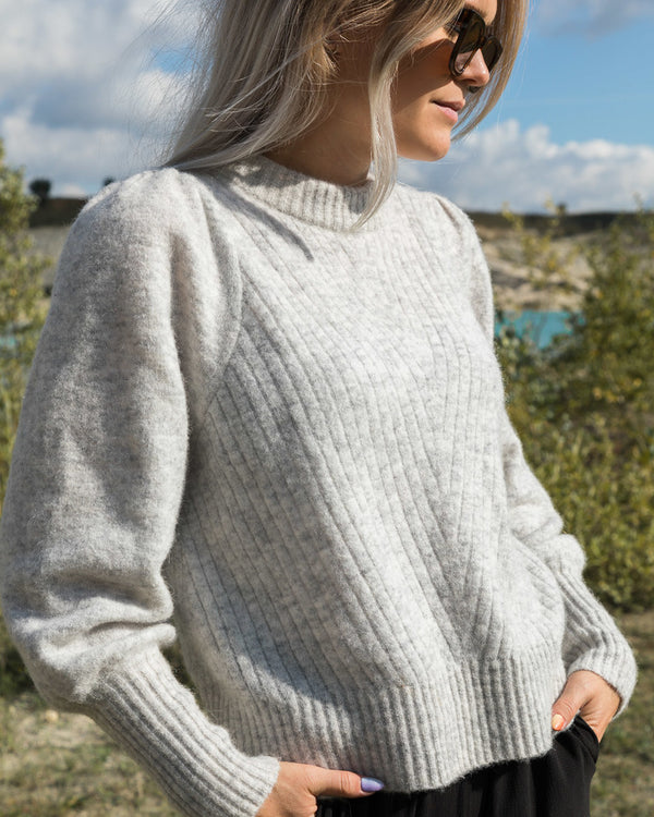KELSEY KNIT BLOUSE  Light Grey Melange