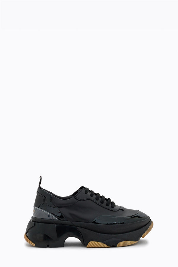 LEATHER HIGH SNEAKERS  Sort