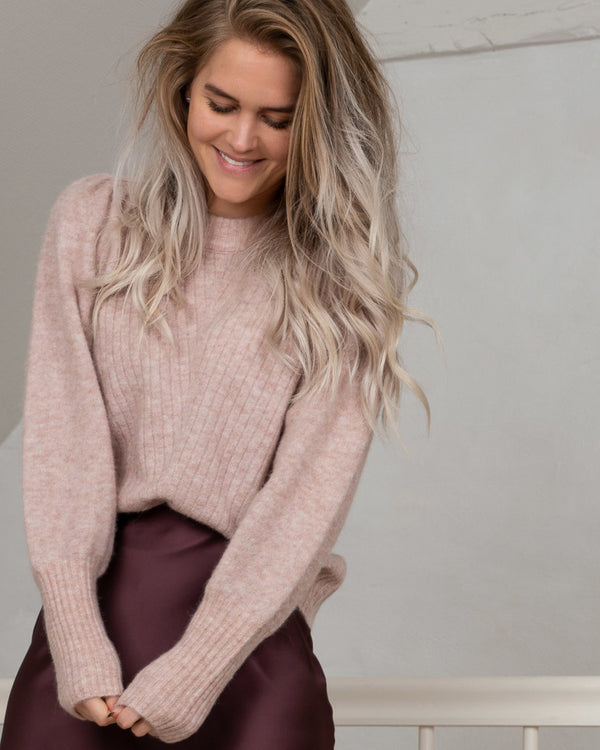 KELSEY KNIT BLOUSE  Powder Melange