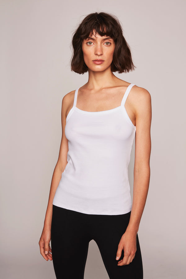 THE TINKI RIBBED TANK  White