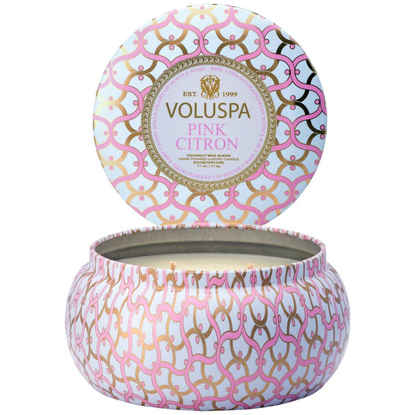 2-WICK TIN CANDLE 50T  Pink Citron