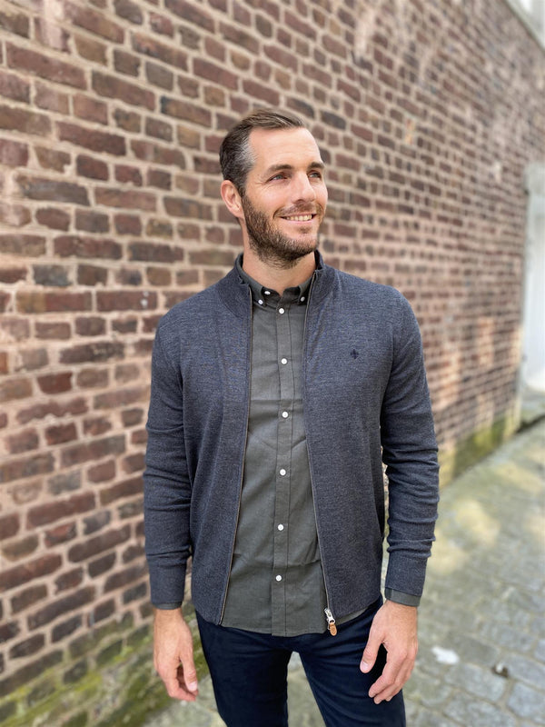 MERINO ZIP CARDIGAN  Grey