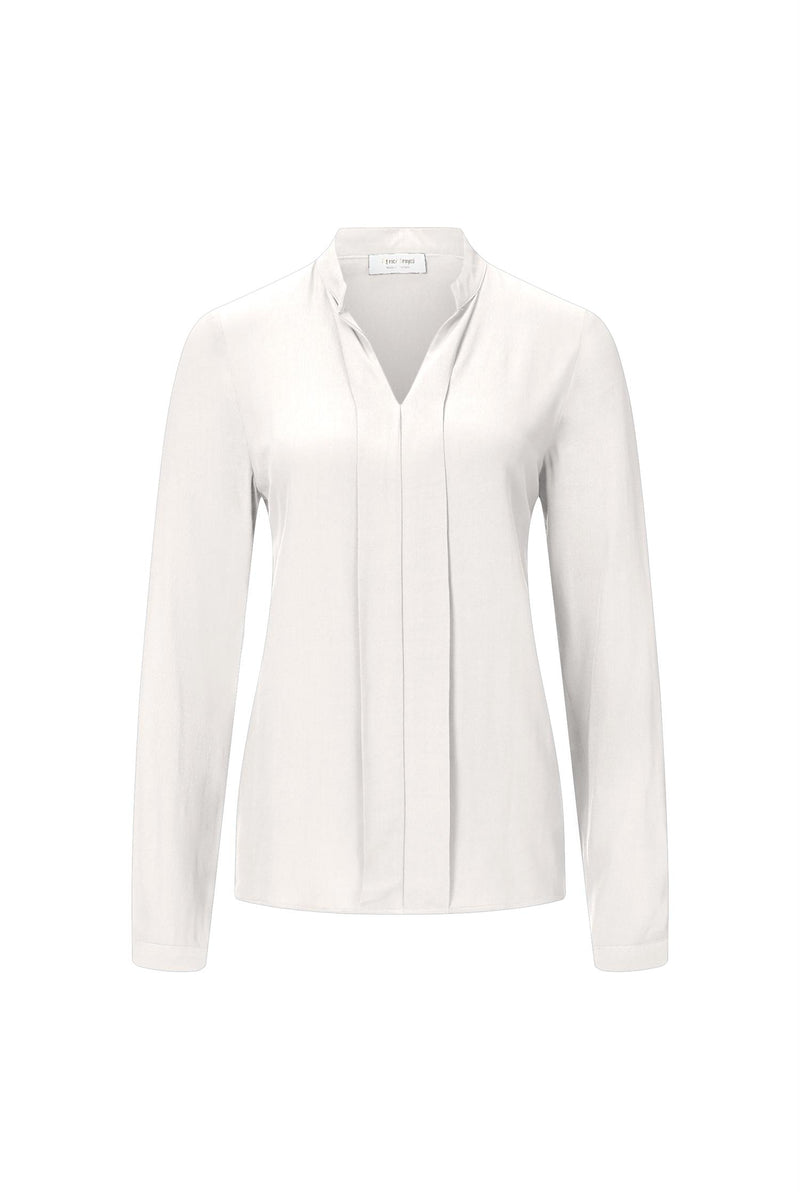 BLOUSE WITH V-NECK - Hvit
