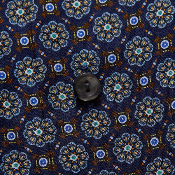 Print Twill Shirt  Navy Medallion