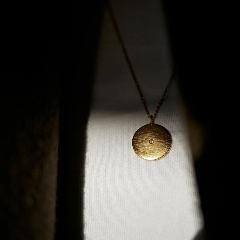 NECKLACE, ROUGH DIAMOND COIN  Gold Matt