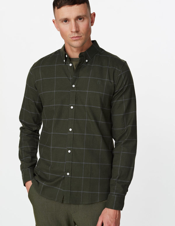 HARRISON B.D. CHECK BRUSHED SHIRT  Deep Forest