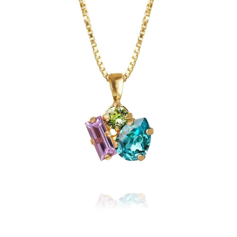 ISA NECKLACE GOLD  Light Turquoise + Chrysolite + Violet