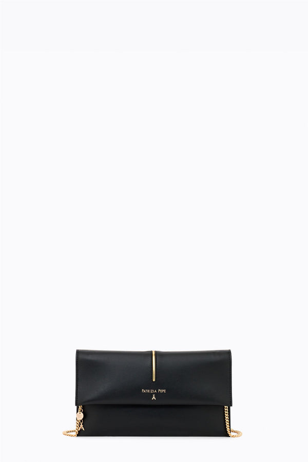 LEATHER POCHETTE BAG  Sort