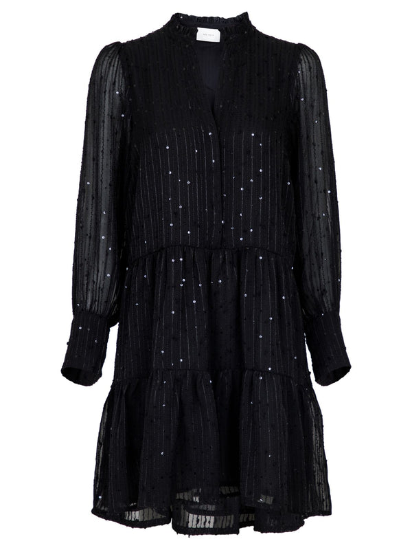 FREI GLITTER STRIPE DRESS  Black