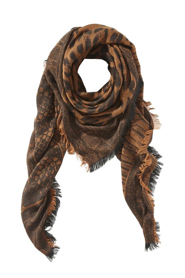SCARF WITH ANIMAL PRINT  Brun