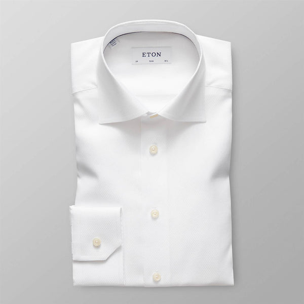 Diamond Weave Twill Shirt  White