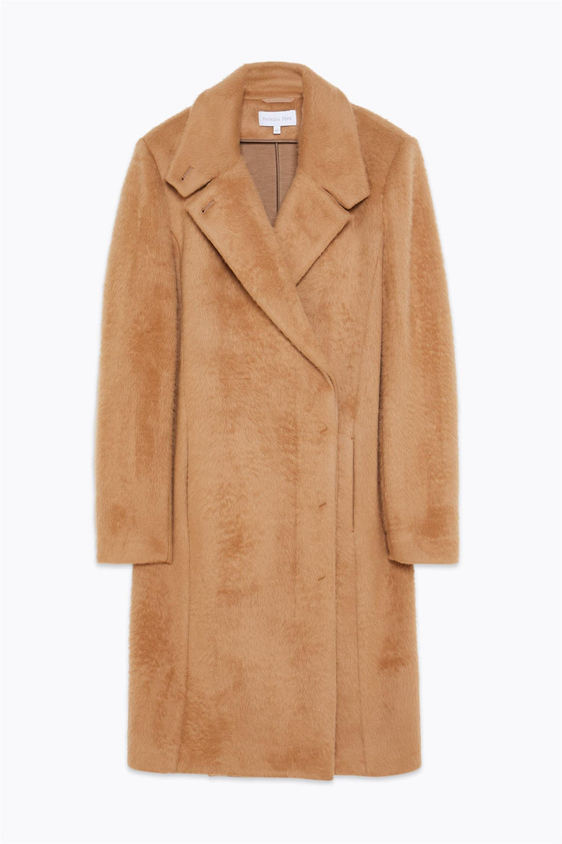 COMBED BROADCLOTH COAT  Camel