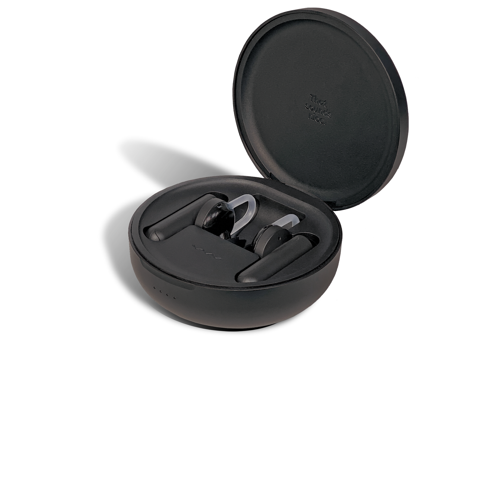 Comfy Black Truly Wireless Earbuds Case Open