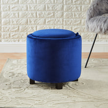 Load image into Gallery viewer, 24KF Upholstered Velvet Round Storage Ottoman with Solid Wood Leg, Comfortable Pouf Ottoman for footrest - Blue