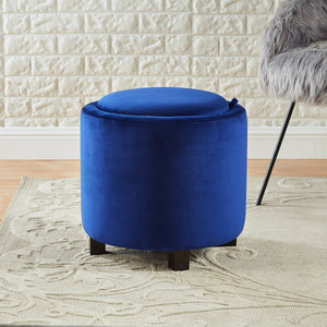 24KF Upholstered Velvet Round Storage Ottoman with Solid Wood Leg, Comfortable Pouf Ottoman for footrest - Blue