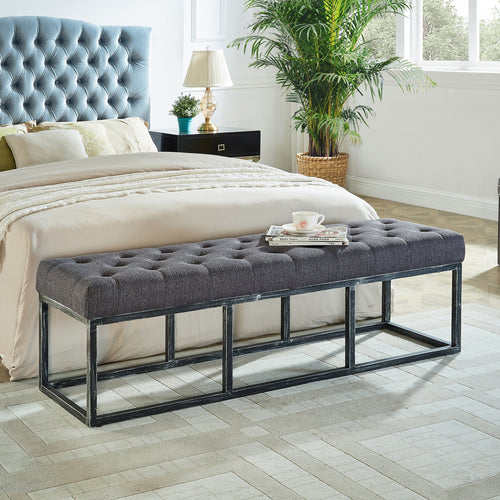 24KF Upholstered Tufted Long Bench with Metal Frame Leg, Ottoman with Padded Seat-Dark Gray