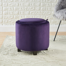 Load image into Gallery viewer, 24KF Upholstered Velvet Round Storage Ottoman with Solid Wood Leg, Comfortable Pouf Ottoman for footrest - Purple