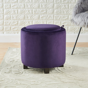 24KF Upholstered Velvet Round Storage Ottoman with Solid Wood Leg, Comfortable Pouf Ottoman for footrest - Purple