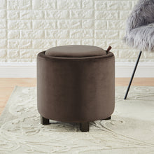Load image into Gallery viewer, 24KF Upholstered Velvet Round Storage Ottoman with Solid Wood Leg, Comfortable Pouf Ottoman for footrest - Brown