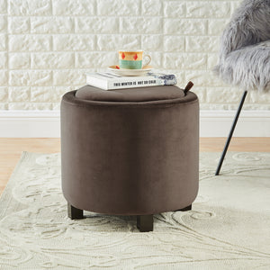 24KF Upholstered Velvet Round Storage Ottoman with Solid Wood Leg, Comfortable Pouf Ottoman for footrest - Brown