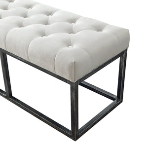 24KF 48inch Upholstered Tufted Long Bench with Metal Frame Leg, Ottoman with Padded Seat-Ivory
