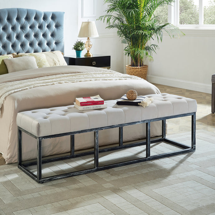 24KF Upholstered Tufted Long Bench with Metal Frame Leg, Ottoman with Padded Seat-Pearl
