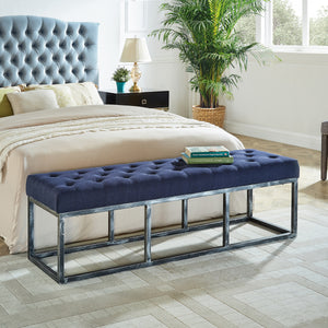 Upholstered Tufted Long Bench with Metal Frame Leg, Ottoman with Padded Seat-Navy Blue