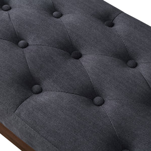 24KF Velvet Upholstered Tufted Bench with Solid Wood Leg,Ottoman with Padded Seat-Midnight