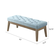 Load image into Gallery viewer, 24KF Velvet Upholstered Tufted Bench with Solid Wood Leg,Ottoman with Padded Seat-Seaglass