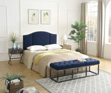 Load image into Gallery viewer, 24KF Middle Century Linen Upholstered Tufted Copper Nails Around Camelback Curve   Queen/Full headboard -Navy Blue