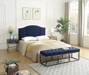 24KF Middle Century Linen Upholstered Tufted Copper Nails Around Camelback Curve   Queen/Full headboard -Navy Blue