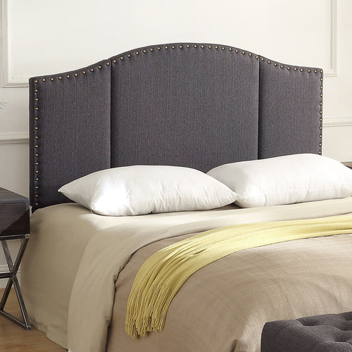24KF Middle Century Dark Grey Linen Upholstered Tufted Copper Nails  Queen/Full headboard -Dark Gray