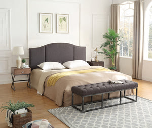 24KF Middle Century Headboard Upholstered Tufted Copper Nails Around Camelback Curve Headboard King/California King-Dark Gray
