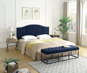 24KF Middle Century Headboard Upholstered Tufted Copper Nails King/California King-Navy Blue …